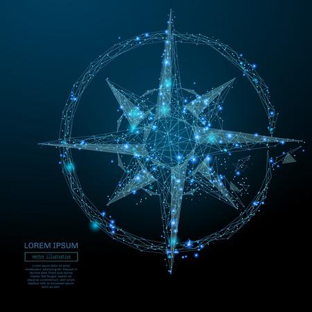 Abstract image d'une rose des vents sous la forme d'un ciel étoilé ou dans l'espace, comprenant des points, des lignes et des formes sous la forme de planètes, les étoiles et l'univers. Vector wireframe business concept. Banque d'images - 72067498