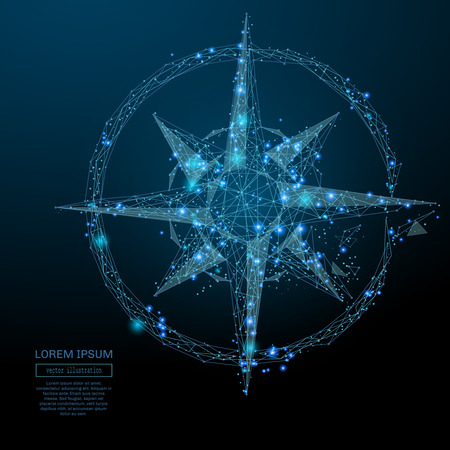 Abstract image of a compass rose in the form of a starry sky or space, consisting of points, lines, and shapes in the form of planets, stars and the universe. Vector business wireframe concept.