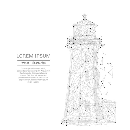 rendering: Grey lighthouse with polygon line on abstract background. Polygonal space low poly with connecting dots and lines. Connection structure. Vector science background