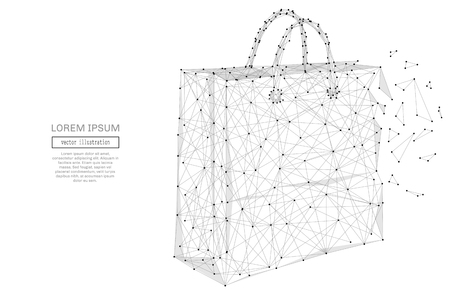 shopping bag: Grey paper bag with polygon line on abstract background. Polygonal space low poly with connecting dots and lines. Connection structure. Vector science background