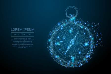 stars sky: Abstract image of a compass in the form of a starry sky or space, consisting of points, lines, and shapes in the form of planets, stars and the universe. Vector business wireframe concept.