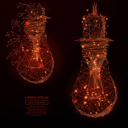 mash: Abstract mash line and point lamp bulb on background with an inscription. Starry sky or space, consisting of stars and the universe. Vector business illustration