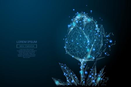poligonos: Imagen abstracta de un tulipán en forma de un cielo estrellado o espacio Vectores