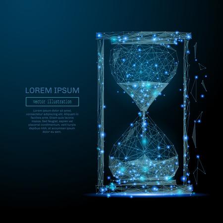 Image abstraite d'une horloge de sable sous la forme d'un ciel étoilé ou d'un espace, constituée de points, de lignes et de formes sous la forme de planètes, d'étoiles et de l'univers Entreprise de vecteur Vecteurs