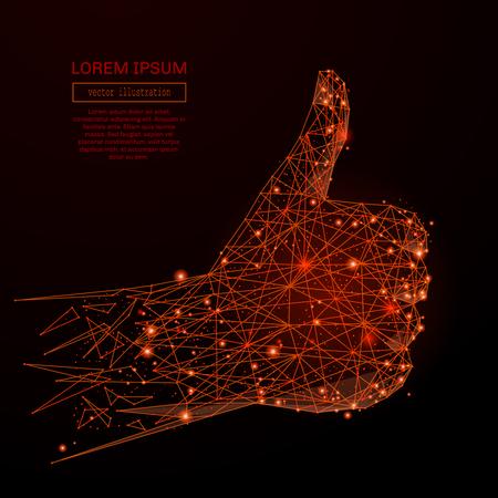 Abstracte mash lijn en punt hand Duim omhoog op achtergrond met een inscriptie. Sterrenhemel of ruimte, bestaande uit sterren en het universum. Vector illustratie Stock Illustratie