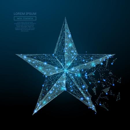 Abstract beeld van een ster in de vorm van een sterrenhemel of -ruimte, bestaande uit punten, lijnen en vormen in de vorm van planeten, sterren en het universum. Vector bedrijf