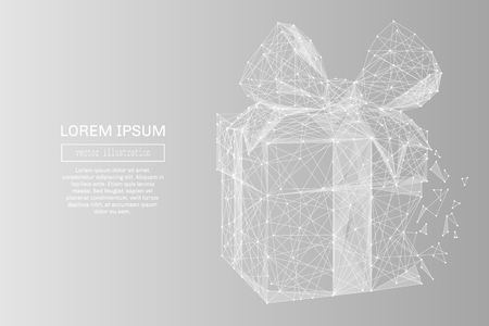 White abstract gift low poly polygonal, geometry triangle. Light connection structure. Low poly vector on gray business concept background.  イラスト・ベクター素材