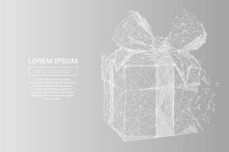 Weißes abstraktes Geschenk niedriges Poly polygonales, Geometriedreieck. Leichte Verbindungsstruktur. Niedrige Poly-Vektor auf grau Business-Konzept Hintergrund.