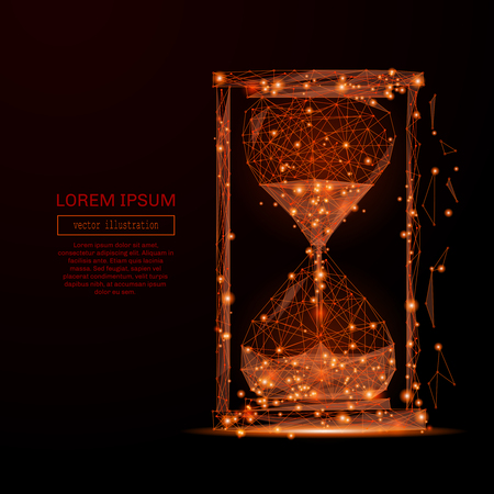 mash: Abstract mash line and point sand clock on background with an inscription.