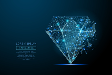 Imagen abstracta de un diamante en forma de un cielo estrellado o espacio, que consiste en puntos, líneas y formas en forma de planetas, estrellas y el universo. Ilustración de vector