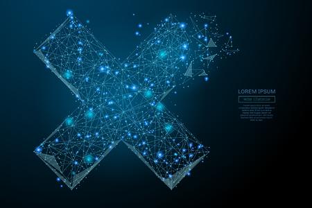 Abstract beeld van een kruis X in de vorm van een sterrenhemel of -ruimte, bestaande uit punten, lijnen en vormen in de vorm van planeten, sterren en het universum. Vector bedrijfs wireframe concept. Stock Illustratie