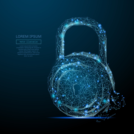 Abstract image of a lock in the form of a starry sky or space, consisting of points, lines, and shapes Иллюстрация