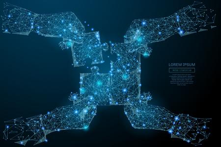 Abstract beeld van een hand verzamelen puzzel in de vorm van een sterrenhemel of ruimte, bestaande uit punten, lijnen en vormen, sterren en het universum. Teamwork concept.