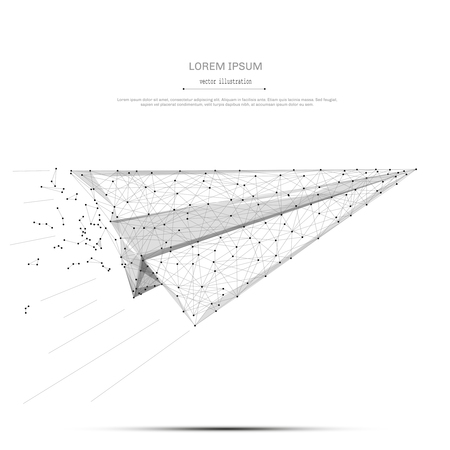 Abstracte brij lijn en punt vliegtuigen origami op witte achtergrond met een inscriptie. Sterrenhemel of ruimte, bestaande uit sterren en het universum. Vector bedrijfsillustratie