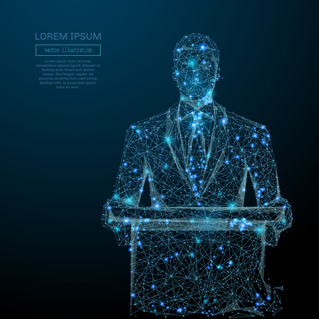 Abstract image of a business man standing behind rostrum in the form of a starry sky or space, consisting of points, and shapes in the form of planets, stars and universe. wire frame concept.