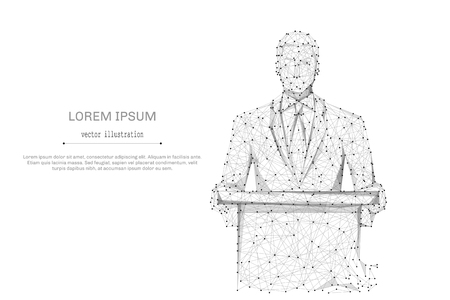 tribune: Abstract mash line and point business man standing behind rostrum on white background with an inscription. Starry sky or space, consisting of stars and the universe. business illustration Illustration