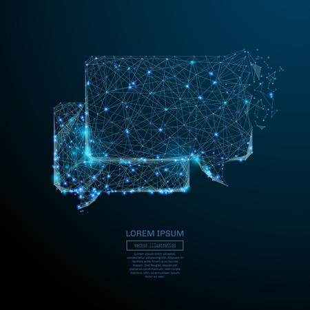 Image abstraite d'un nuage de dialogue sous la forme d'un ciel étoilé ou d'un espace. Notion de vecteur wireframe.