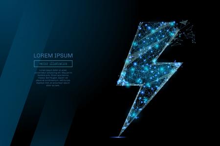 Abstract beeld van een energieteken of bliksem in de vorm van een sterrenhemel of ruimte, bestaande uit punten, lijnen en vormen in de vorm van planeten, sterren en het universum. Vector wireframe concept. Stock Illustratie
