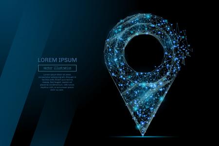 Abstract beeld van een pin in de vorm van een sterrenhemel of ruimte, bestaande uit punten, lijnen en vormen in de vorm van planeten, sterren en het universum. Draadframe concept. Stock Illustratie