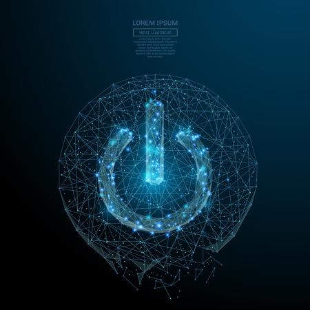 Imagen abstracta de un hombre de negocios de pie detrás de la tribuna en forma de un cielo estrellado o el espacio, que consta de puntos y formas en forma de planetas, estrellas y el universo. Vector el concepto wireframe.