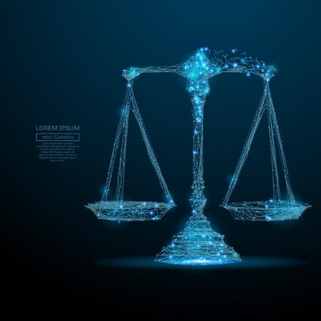 Abstract beeld van een weegschaal in de vorm van een sterrenhemel of ruimte, bestaande uit punten, lijnen en vormen in de vorm van planeten, sterren en het universum. Vector wireframe concept. Stockfoto - 75837846
