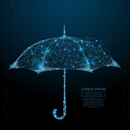 Abstract image of a umbrella in the form of a starry sky or space, consisting of points, lines, and shapes in the form of planets, stars and the universe. Vector wireframe concept.