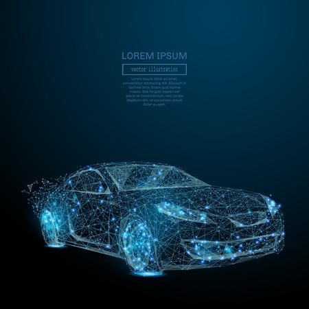 Imagen abstracta de un auto en la forma de un cielo estrellado o espacio, que consiste en puntos, líneas y formas en forma de planetas, estrellas y el universo. Negocio del vector