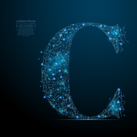 Abstract image of the letter C of a starry sky or space, consisting of points, lines, and shapes in the form of planets, stars and the universe. Vector business Vectores