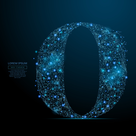 Abstract image of the letter O of a starry sky or space, consisting of points, lines, and shapes in the form of planets, stars and the universe. Vector business Ilustração