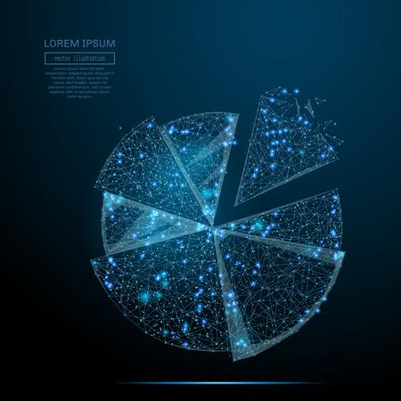 Abstract beeld van cirkeldiagram van een sterrenhemel of ruimte, bestaande uit punten, lijnen en vormen in de vorm van planeten, sterren en het universum. Vector bedrijf