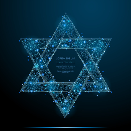 Abstract image of the star of David of a starry sky or space, consisting of points, lines, and shapes in the form of planets, stars and the universe. Vector business Çizim