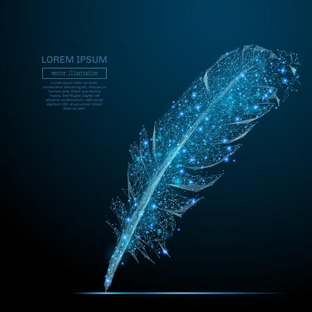 ポイント、ライン、および惑星、星や宇宙の形の図形で構成される星空の空間、鳥の羽の抽象的なイメージ。ベクトル ビジネス