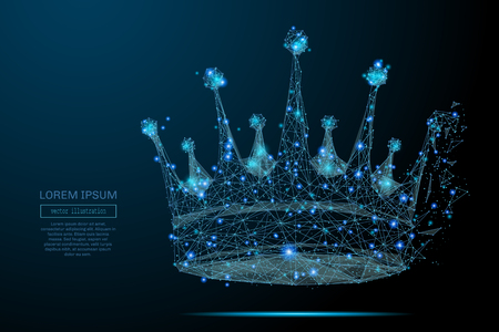 Abstract image of a crown in the form of a starry sky or space, consisting of points, lines, and shapes in the form of planets, stars and the universe. Crown vector wireframe concept.