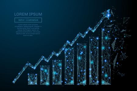 Imagen abstracta de una tabla de crecimiento en forma de cielo o espacio estrellado, que consta de puntos, líneas y formas en forma de planetas, estrellas y el universo. Concepto de estructura de alambre de vector.