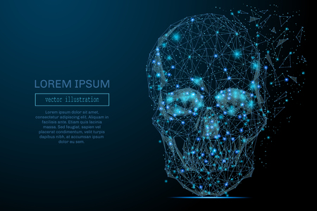 Abstract image of a space skull in the form of a starry sky or space, consisting of points, lines, and shapes in the form of planets, stars and the universe. Skull vector wireframe concept. Ilustração