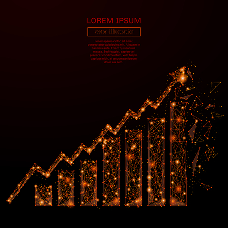 mash: Abstract mash line and pointgrowth chart in flames style on dark background with an inscription. Starry sky or space, consisting of stars and the universe. Vector illustration