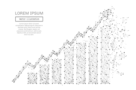 Grey growth chart with polygon line on abstract background. Polygonal space low poly with connecting dots and lines. Connection structure. Vector business background.