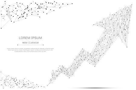 mash: Abstract mash line and point broken arrow on white background with an inscription. Starry sky or space, consisting of stars and the universe. Vector business illustration