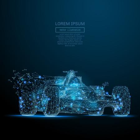 多角形の F1 車。スピード コンセプト。飛び散る破片から火球メッシュ球をベクトルします。細い線の概念。青い構造イラスト