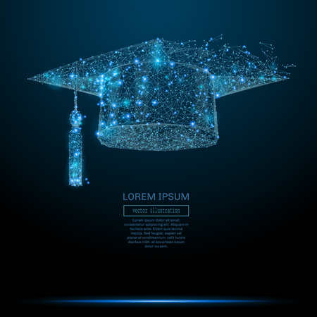 Polygonal Graduation cap. Business concept. Vector mesh spheres from flying debris. Иллюстрация