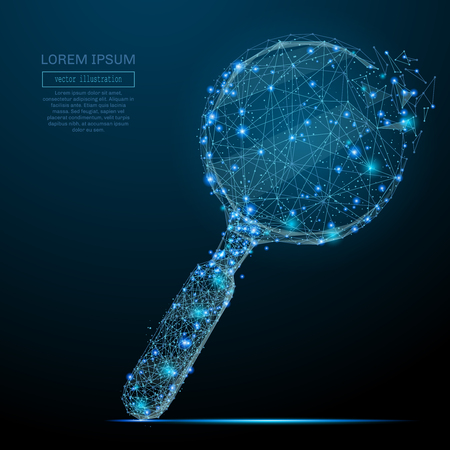 Polygonal magnifying glass. Business concept. Vector mesh spheres from flying debris.