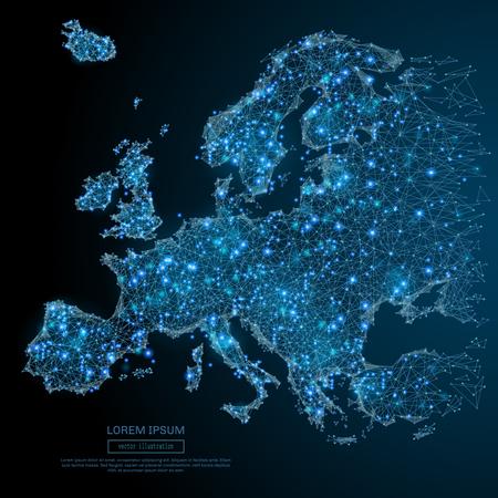 다각형 유럽지도. 세계 개념입니다. 벡터 파편 비행에서 메쉬 분야를 매핑합니다. 얇은 라인 개념. 파란색 구조 스타일 그림 스톡 콘텐츠 - 79101251