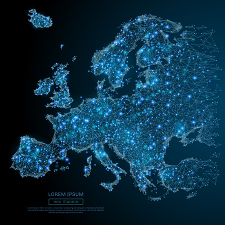 Polygonal Europe map. World concept. Vector map mesh spheres from flying debris. Thin line concept. Blue structure style illustration