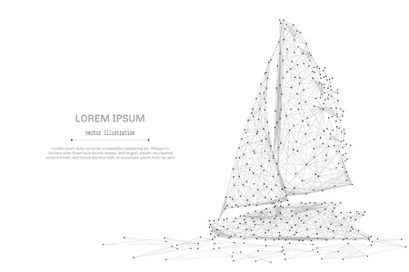 Abstract mash line and point Sailing yacht on white background with an inscription.