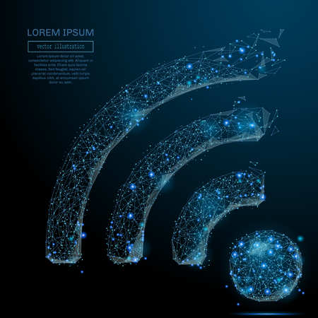 Polygonal wi-fi icon. The Internet concept. Vector technology mesh spheres from flying debris. Thin line concept. Blue structure style illustration