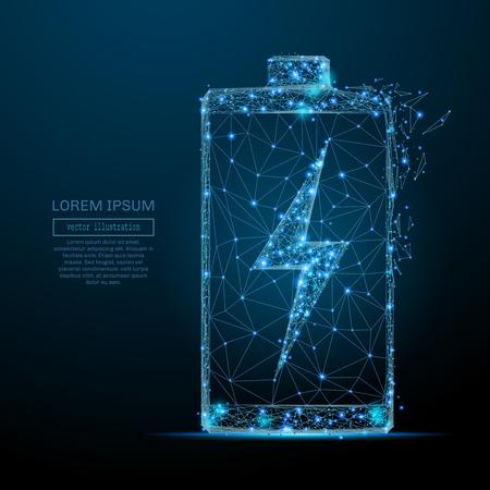 Polygonal battery. Vector mesh spheres from flying debris. Thin line concept. Blue structure style illustration Reklamní fotografie