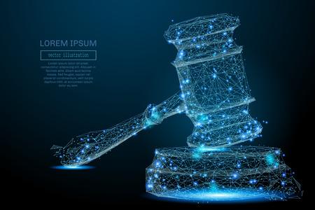 裁判官の多角形のハンマー。飛び散る破片からベクトル メッシュ球。細い線の概念。青い構造イラスト