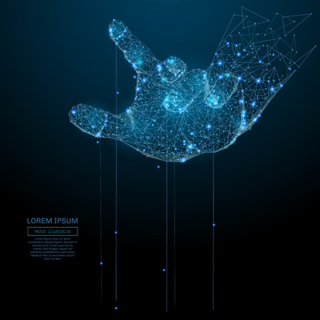 Polygonal hand puppet. Business Vector mesh spheres from flying debris. Thin line business or political concept. Blue structure style illustration