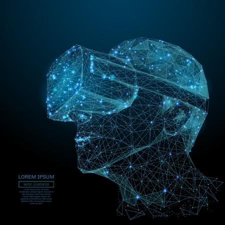 Image abstraite d'une réalité virtuelle sous la forme d'un ciel étoilé ou d'un espace, constitué de points, de lignes et de formes sous la forme de planètes, d'étoiles et de l'univers. Concept de technologie de vecteur