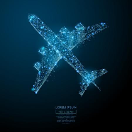 Abstraktes Bild einer Verkehrsflugzeug-Draufsicht in Form eines Sternenhimmels oder Raumes, bestehend aus Punkten, Linien und Formen in Form von Planeten, Sternen und dem Universum Standard-Bild - 82185728